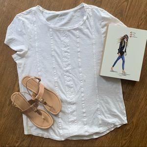 Loft white tee shirt with stitching detail